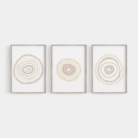 Mid Century Modern Minimalist Circle Blooms Triptych Set of 3 Wall Art Prints or Canvas - Jetty Home