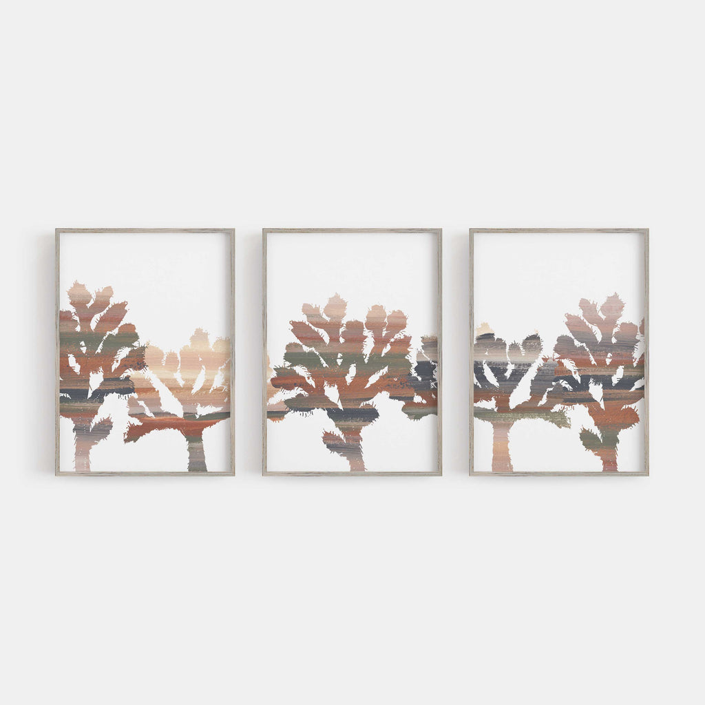 Joshua Tree Trendy Desert Decor Triptych Wall Art Print or Canvas - Jetty Home