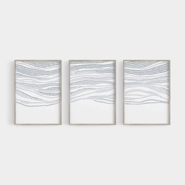 Abstract Modern Ocean Beach Waves Blue Triptych Set of Three Wall Art Prints or Canvas - Jetty Home