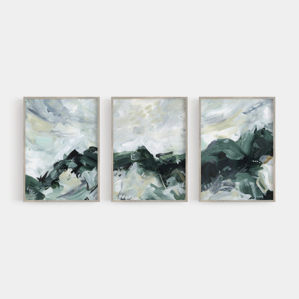 Abstract Green and White Modern Painting Triptych Set of Three Wall Art Prints or Canvas - Jetty Home
