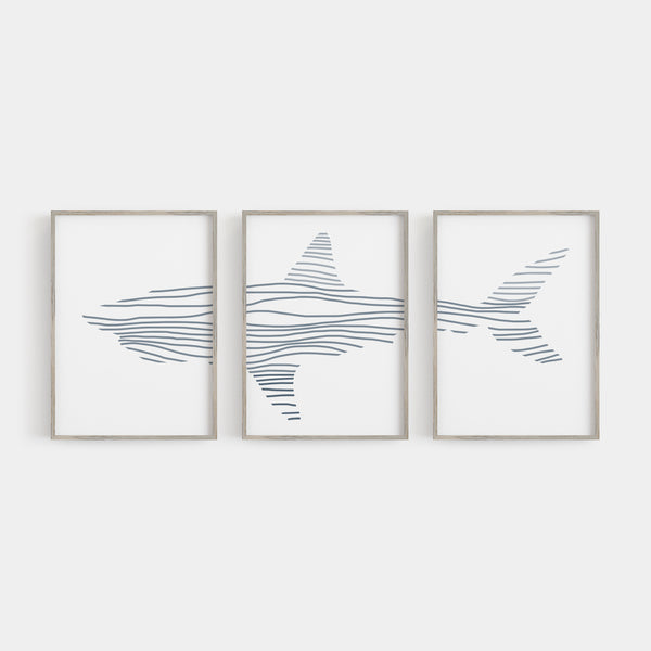 Modern Shark Illustration Nursery Triptych Set of Three Wall Art Prints or Canvas - Jetty Home