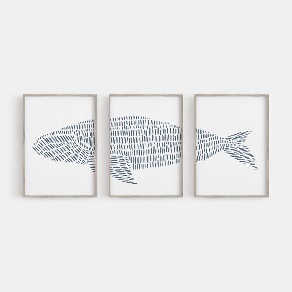 Right Whale Illustrated Line Triptych Set of Three Wall Art Prints or Canvas - Jetty Home