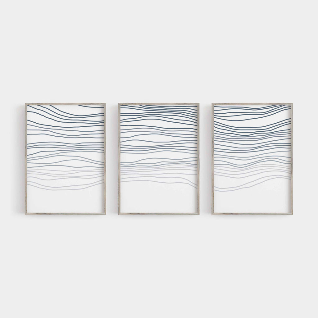 Abstract Aerial Waves Line Drawing Triptych Set of Three Wall Art Prints or Canvas - Jetty Home