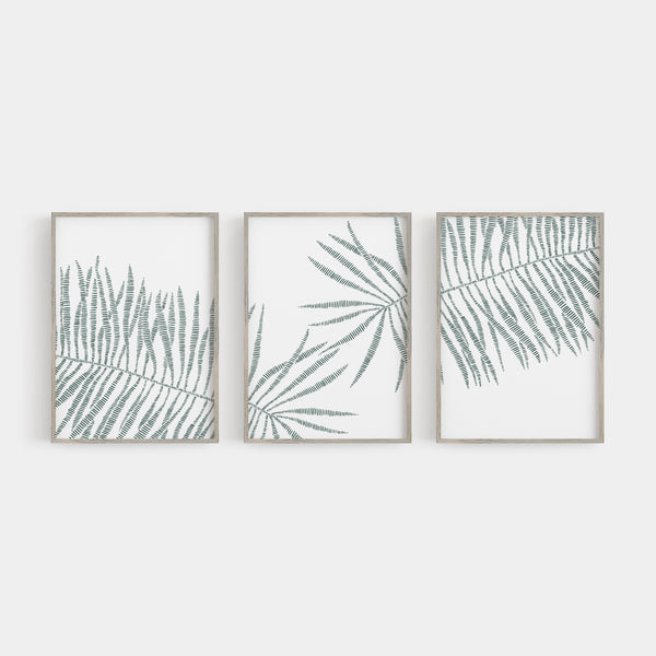 Modern Tropical Palm Leaf Triptych Set of Three Wall Art Prints or Canvas - Jetty Home