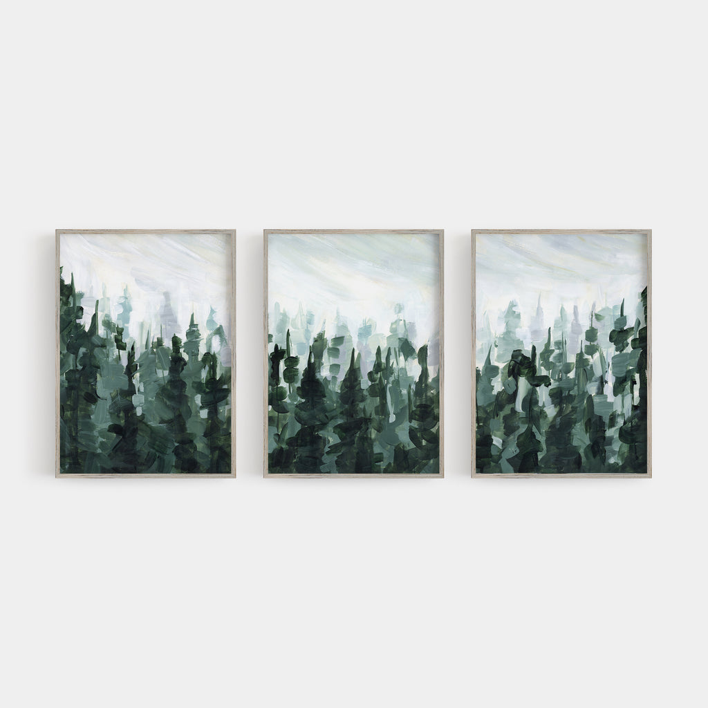 Pine Tree Forest Green And White Painting Triptych Set Of Three Wall A Jetty Home