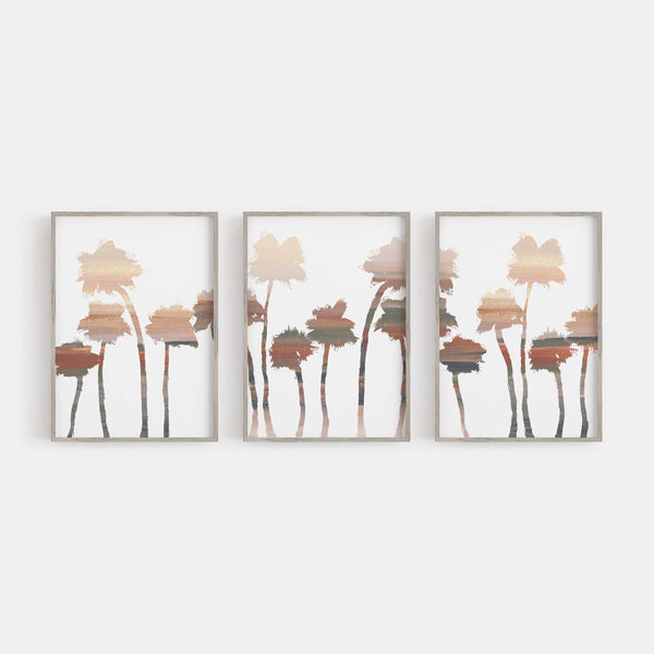 Modern Desert Palm Tree Triptych Wall Art Print or Canvas - Jetty Home