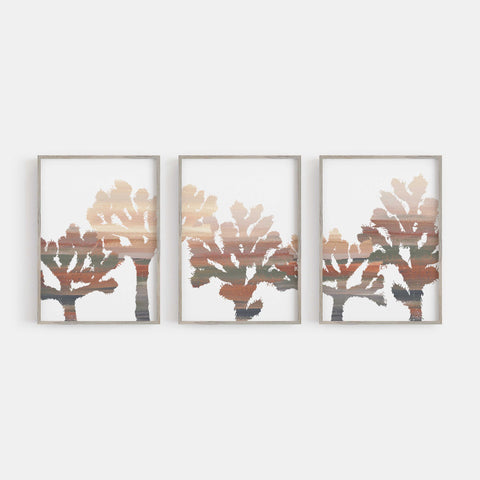 Joshua Tree Trendy Desert Neutral Decor Triptych Wall Art Print or Canvas - Jetty Home