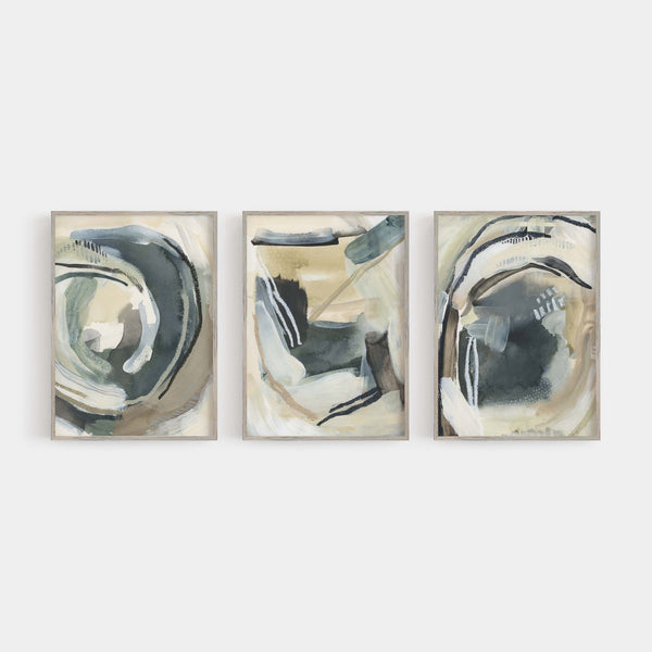 Modern Neutral Paintings Contemporary Triptych Set of Three Wall Art Prints or Canvas - Jetty Home
