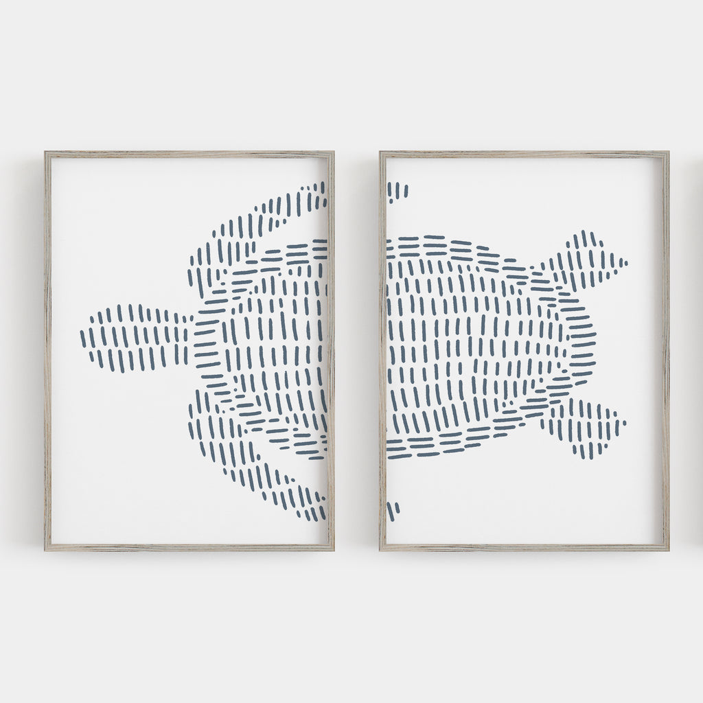 Sea Turtle Modern Beach House Diptych Set of 2 Wall Art Print or Canvas - Jetty Home