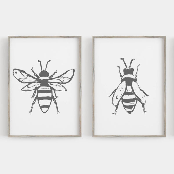 Bee Modern Minimalist Drawing Set of 2 Wall Art Print or Canvas - Jetty Home