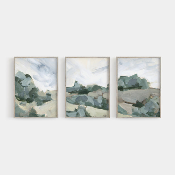 Neutral Muted Landscape Painting Triptych Set of Three Wall Art Prints or Canvas - Jetty Home