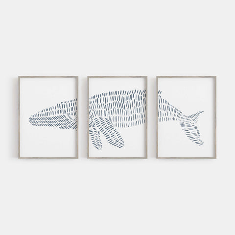 Humpback Whale Illustrated Line Triptych Set of Three Wall Art Prints or Canvas - Jetty Home