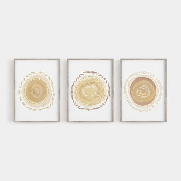 Circle Modern Minimalist Mid Century Triptych Set of 3 Wall Art Prints or Canvas - Jetty Home