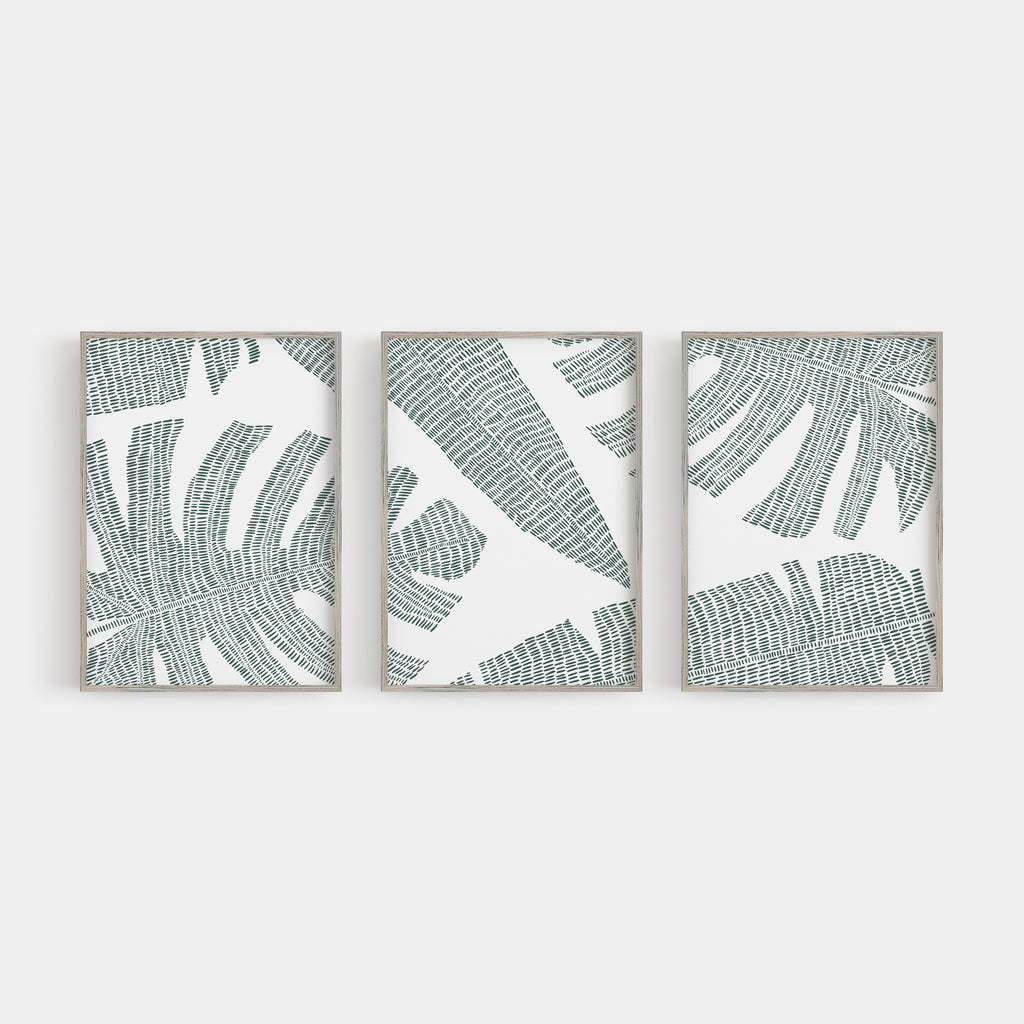 Tropical Botanicals Palm Leaf Triptych Set of Three Wall Art Prints or Canvas - Jetty Home