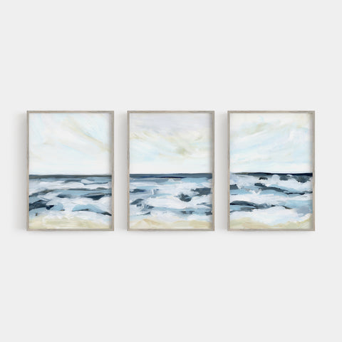 Blue Modern Seascape Painting Triptych Set of Three Wall Art Prints or Canvas - Jetty Home