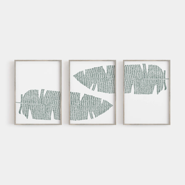 Banana Leaf Modern Minimalist Triptych Set of Three Wall Art Prints or Canvas - Jetty Home