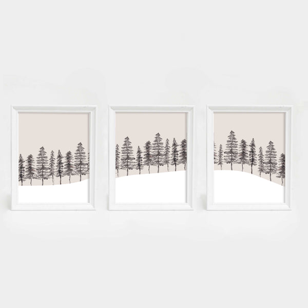 Modern Nordic Pine Tree Triptych Wall Art Print - Jetty Home
