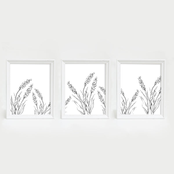 Lavender Modern Gray and White Triptych Set of Three Wall Art Prints or Canvas - Jetty Home