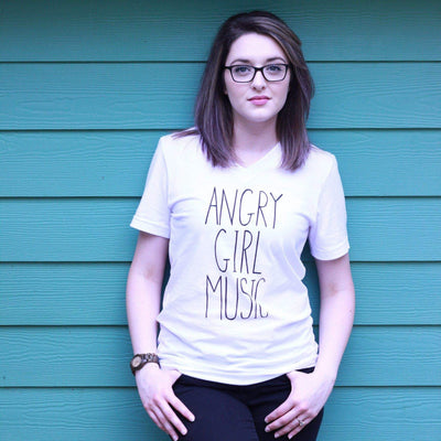 Angry Girl Music Unisex V-Neck Tee