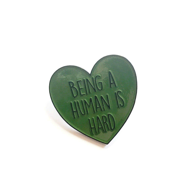Broad & Jones Being a Human is Hard Enamel Pin | Depression & Bipolar