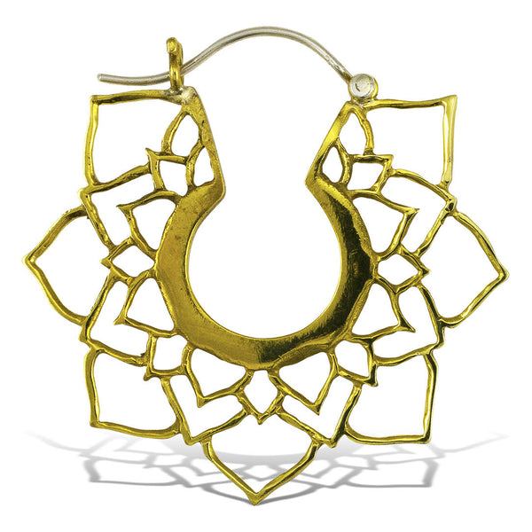 <span>BRES-196<span>: </span></span>Mandala Lotus Hoops - Silver Post
