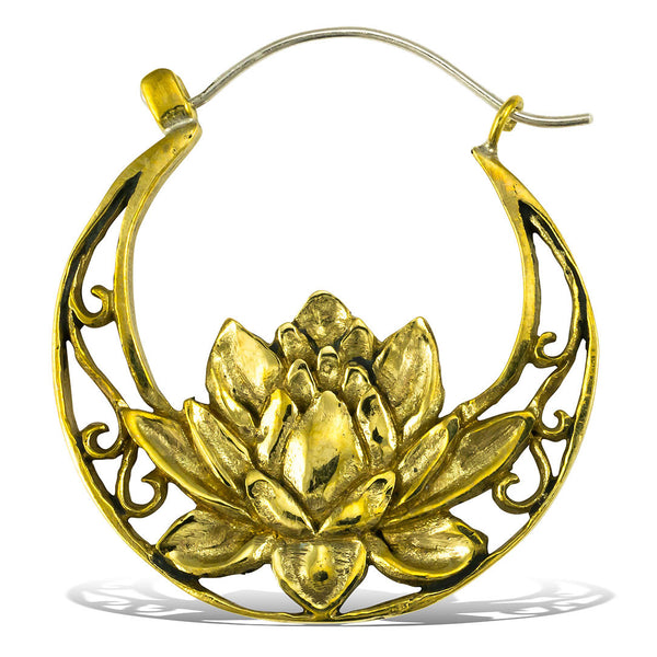 <span>BRES-197<span>: </span></span>Flowering Lotus Hoops - Silver Post