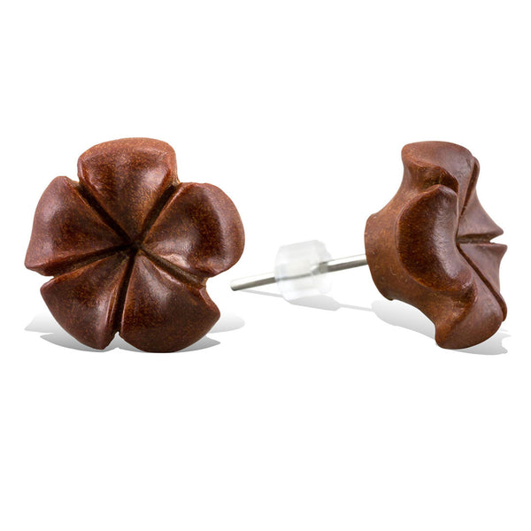 <span>EFPW-305 Stud<span>: </span></span>Hibiscus Flower - Wood Stud Earrings