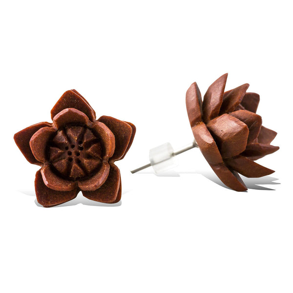 <span>EFPW-306 Stud<span>: </span></span>Venus Flower - Wood Stud Earrings