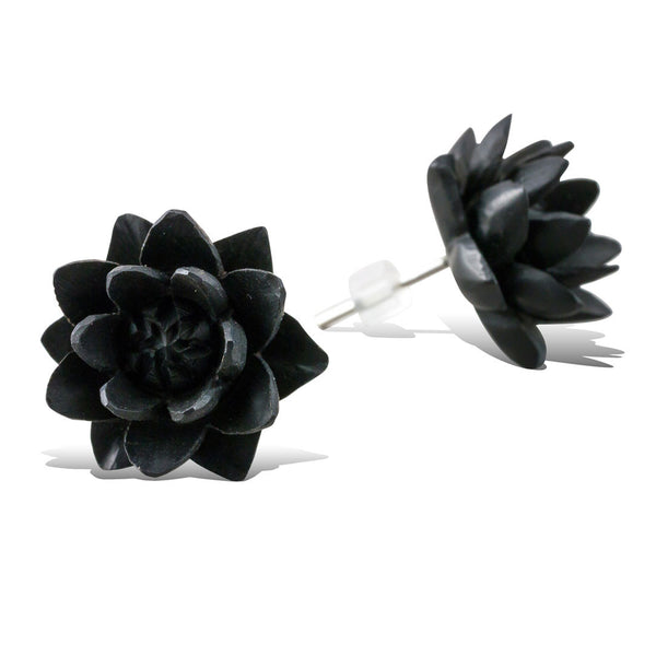 <span>EFPW-307 Stud<span>: </span></span>Night Flower - Wood Stud Earrings