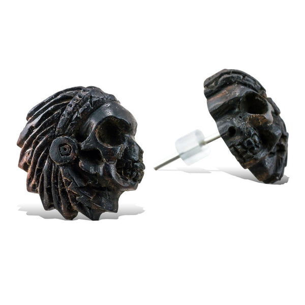 <span>EFPW-312 Stud<span>: </span></span>Chief Skulls - Wood Stud Earrings
