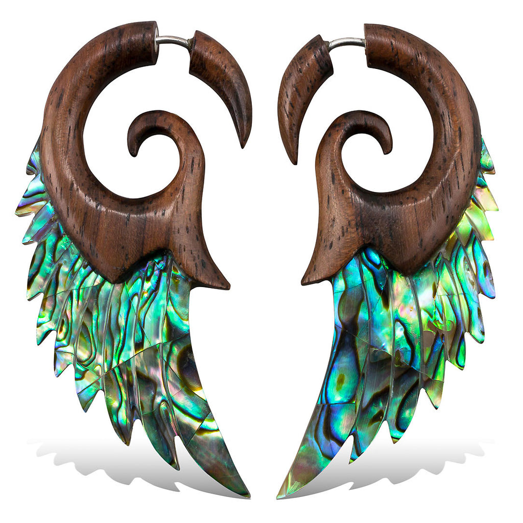 <span>EFWA-835<span>: </span></span>Angel Wings - Wood with Abalone