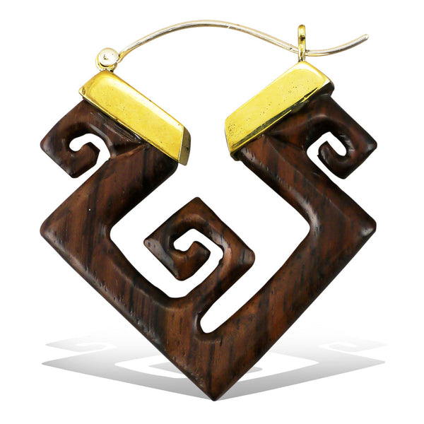 <span>ESW-317<span>: </span></span>Squared Spiral Earrings - Wood