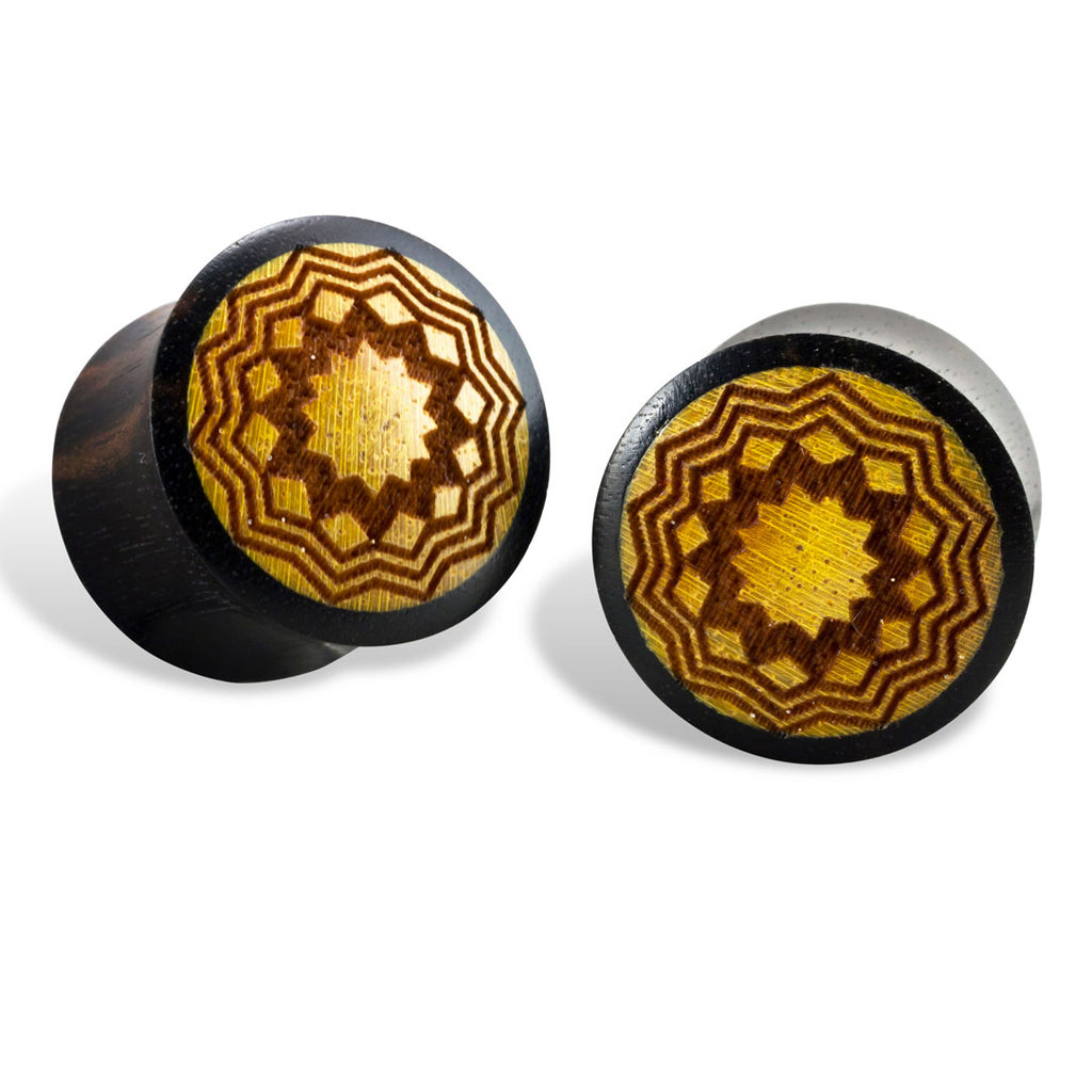 <span>EXPW-101<span>: </span></span>Sun Mandala Plugs - Wood