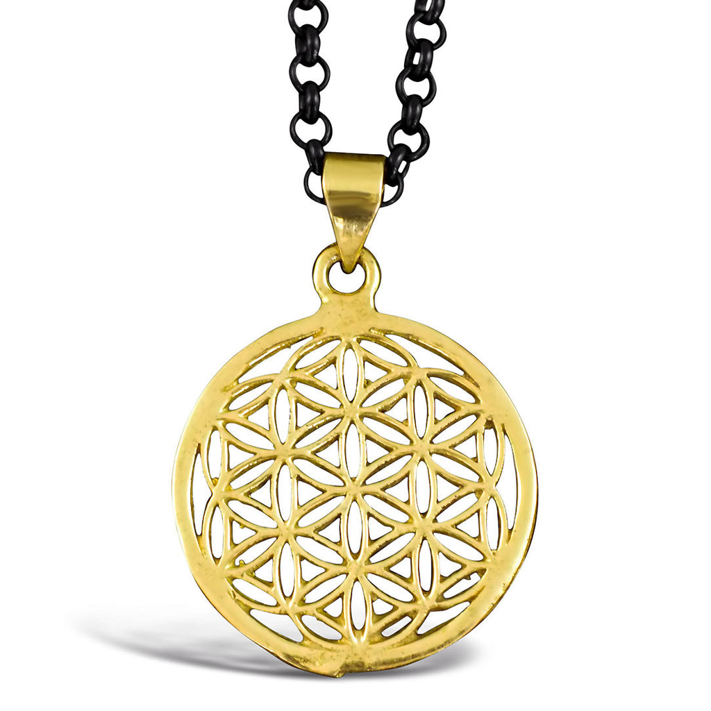 <span>PBR-014<span>: </span></span>Flower of Life - Brass Pendant