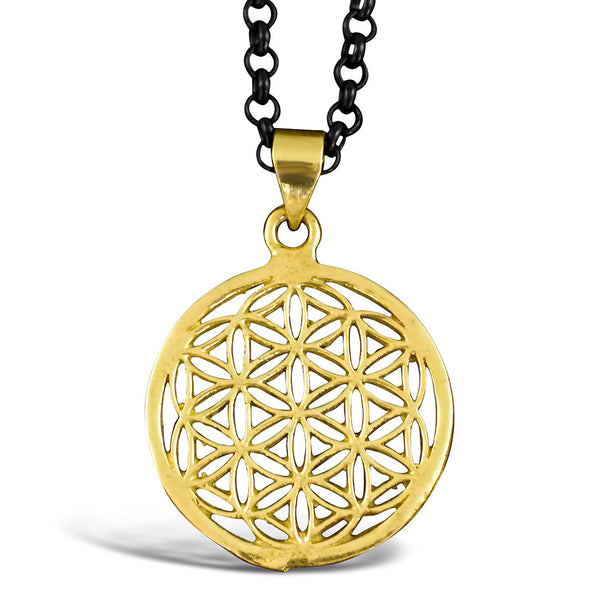 <span>PBR-012<span>: </span></span>Flower of Life - Brass Pendant
