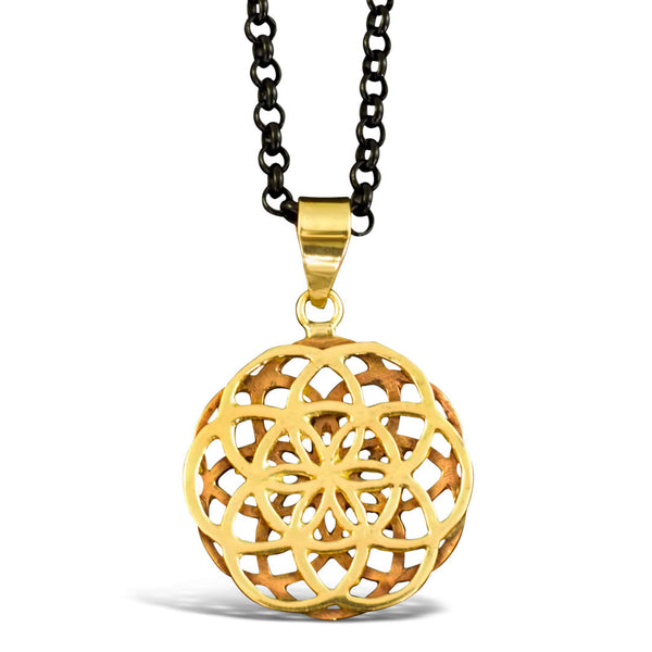 Double Seed of Life - Brass Pendant