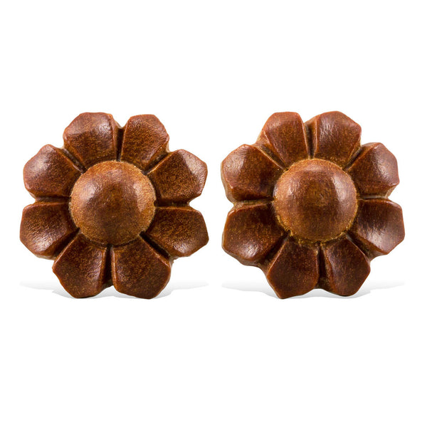 <span>EFPW-302<span>: </span></span>Daisy Dots - Wood Stud Earrings