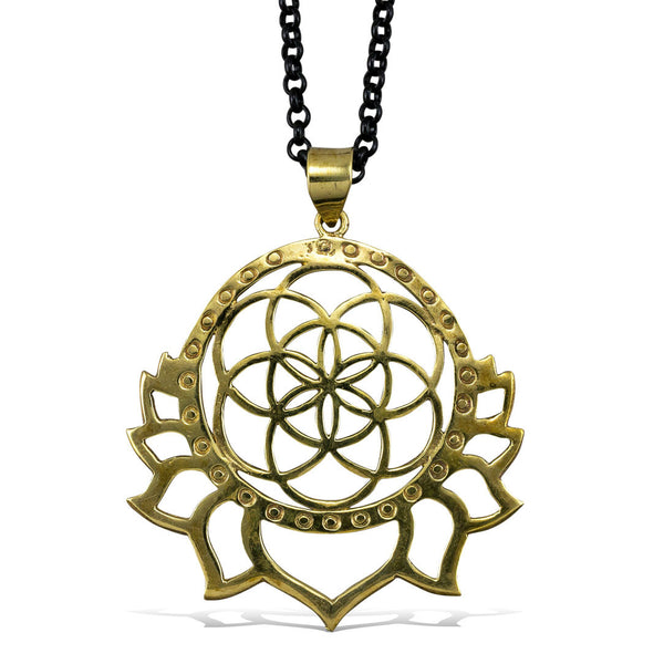 <span>PBR-011<span>: </span></span>Seed of Life Lotus - Brass Pendant