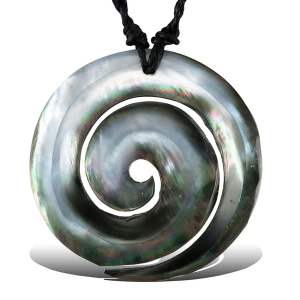Rue Wave Shell Pendant - Black Cord