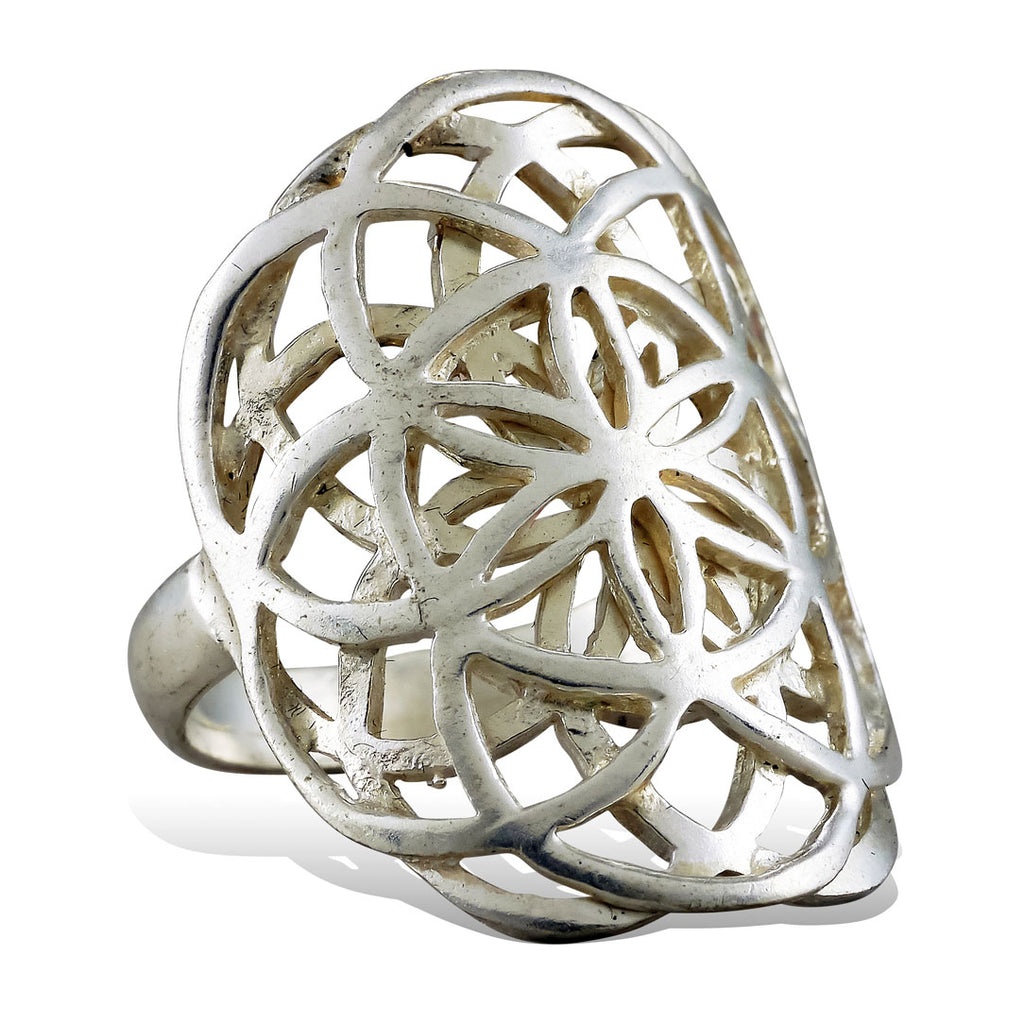<span>RAS-002<span>: </span></span>Double Seed of Life Ring - Silver