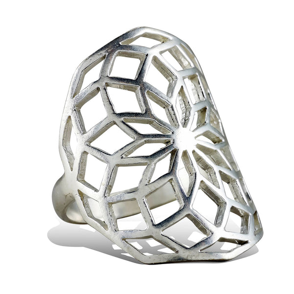 <span>RAS-003<span>: </span></span>Sacred Flower Ring - Silver