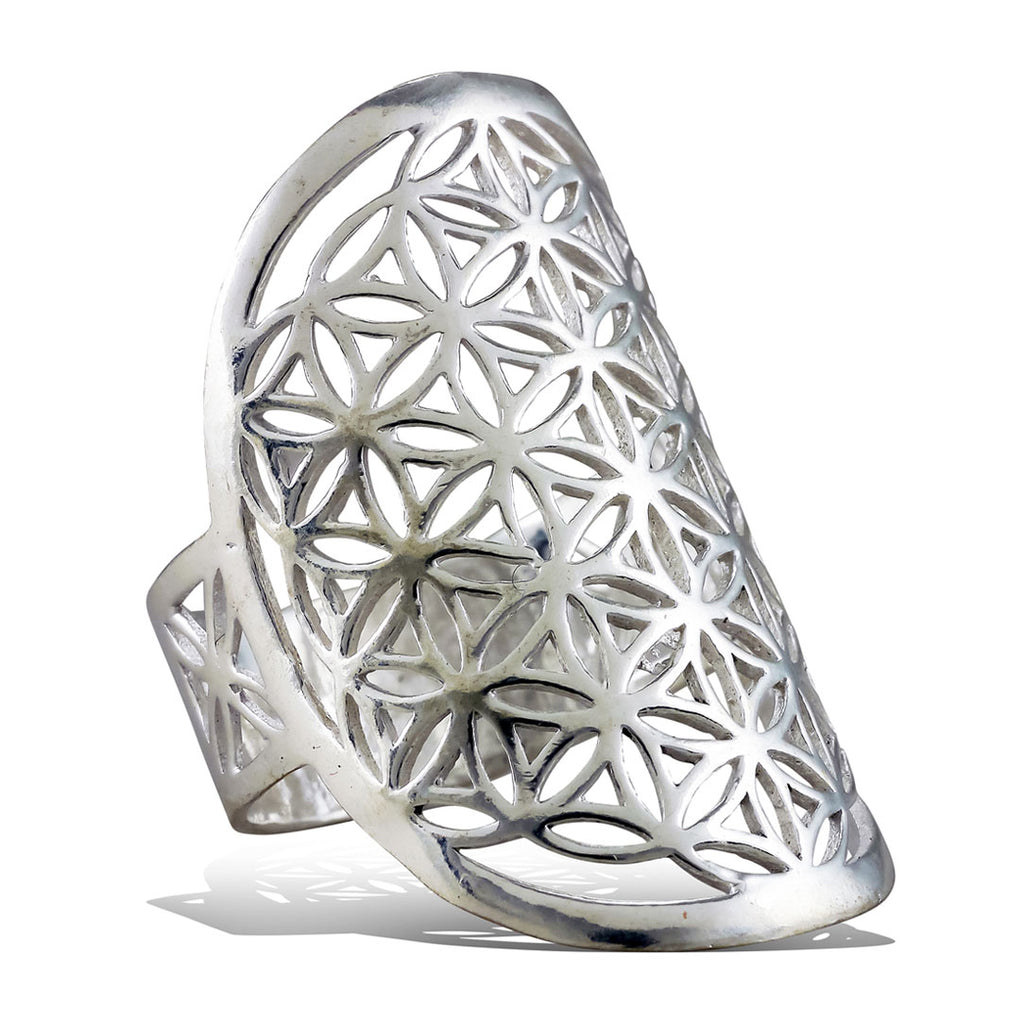 <span>RAS-012<span>: </span></span>Flower of Life Oval Ring - Silver