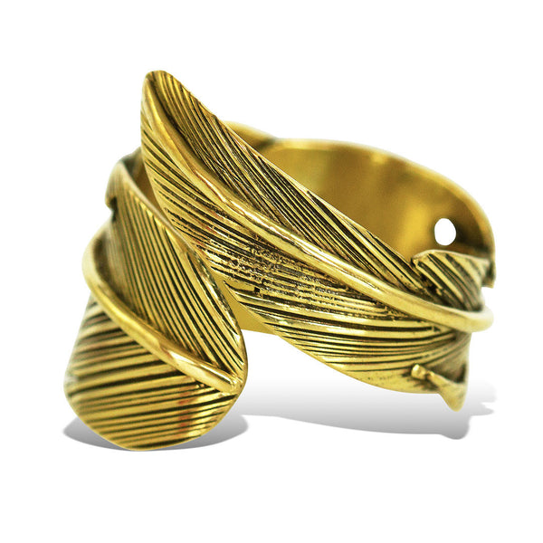 <span>RBR-001<span>: </span></span>Wrapped Leaf Ring - Brass