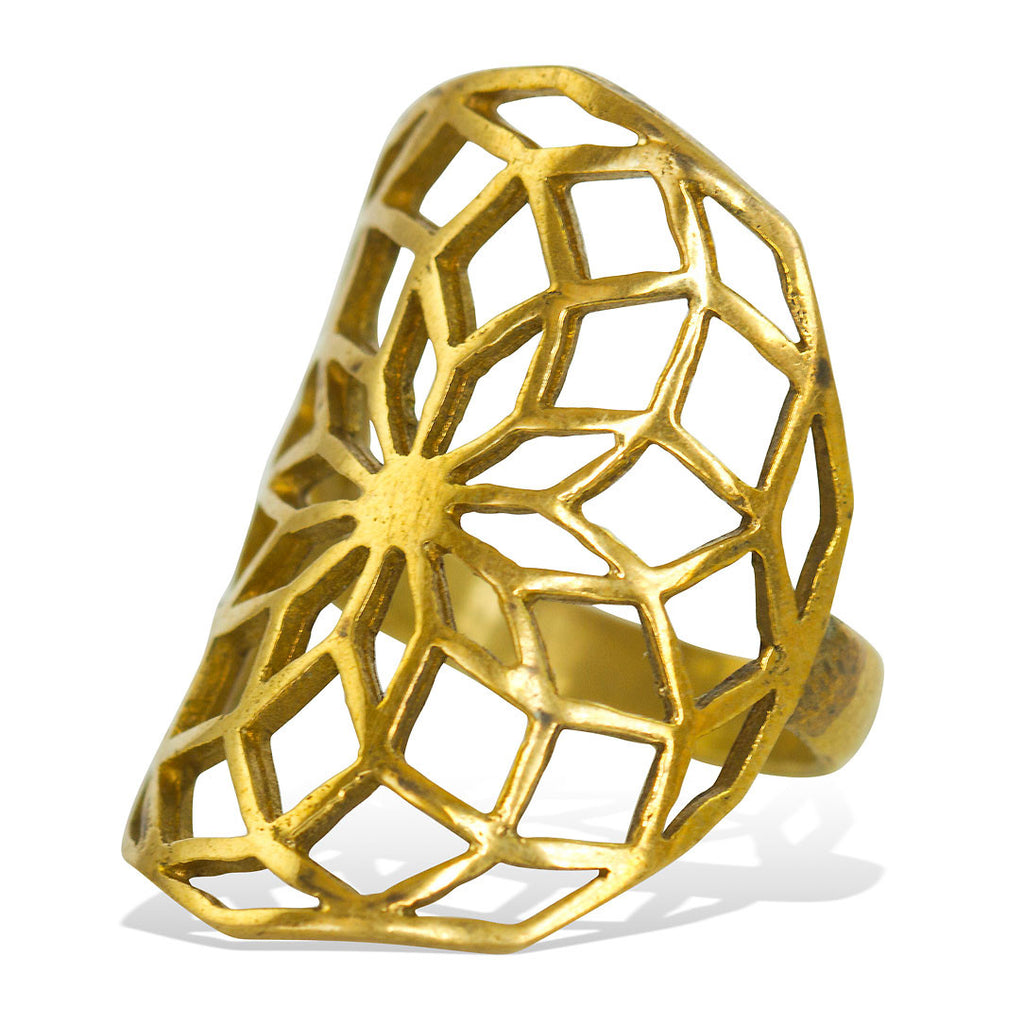 <span>RBR-003<span>: </span></span>Sacred Flower Ring - Brass