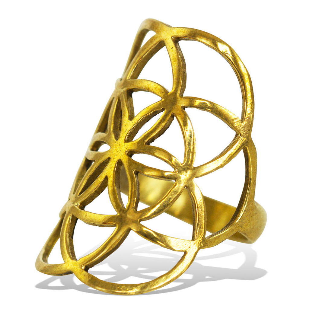 <span>RBR-004<span>: </span></span>Seed of Life Ring - Brass