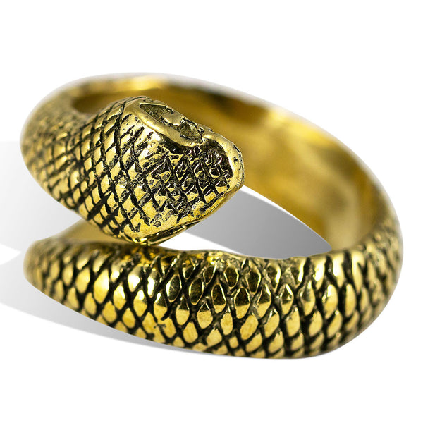 <span>RBR-005<span>: </span></span>Sleeping Snake Ring - Brass