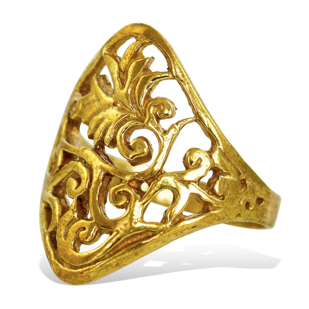 <span>RBR-007<span>: </span></span>Bridal Flower Ring - Brass