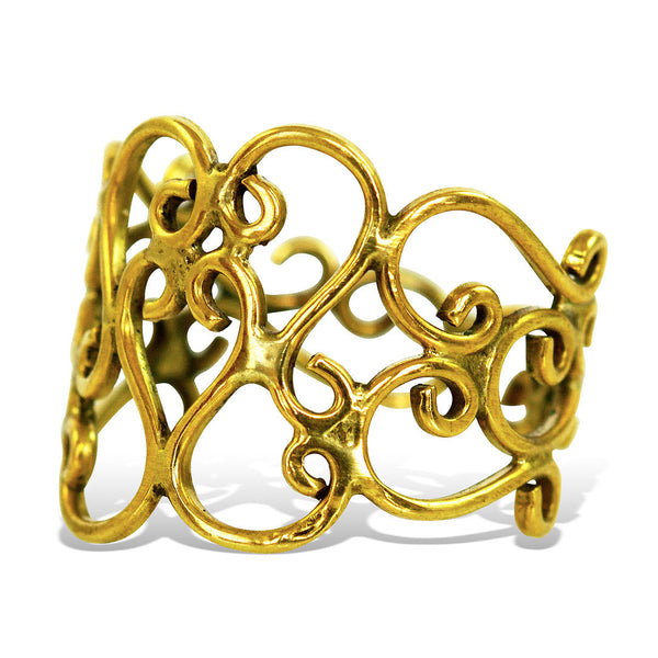 <span>RBR-008<span>: </span></span>Thin Curl Ring - Brass