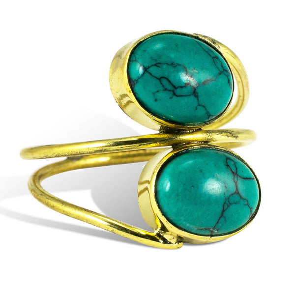 <span>RBR-011<span>: </span></span>Wrapped Double Turquoise - Brass Ring
