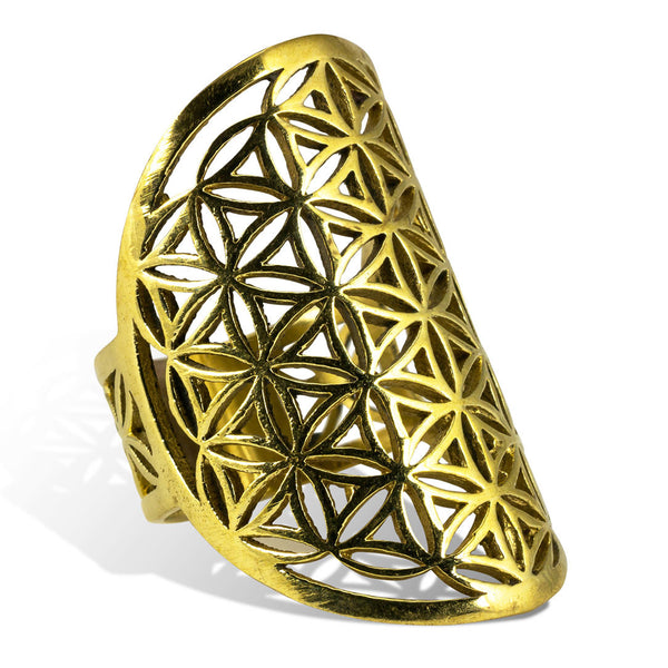 <span>RBR-012<span>: </span></span>Flower of Life Oval Ring - Brass